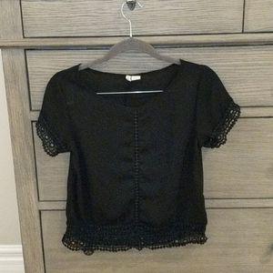 Japna Black Lace Lined Sheer Crop Top XS